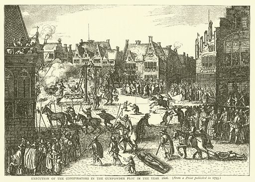 Execution of the conspirators in the Gunpowder Plot in the year 1606, from a print published in 1795. Illustration for Old and New London with numerous engravings from the most authentic sources by Walter Thornbury (Cassell, c 1890).