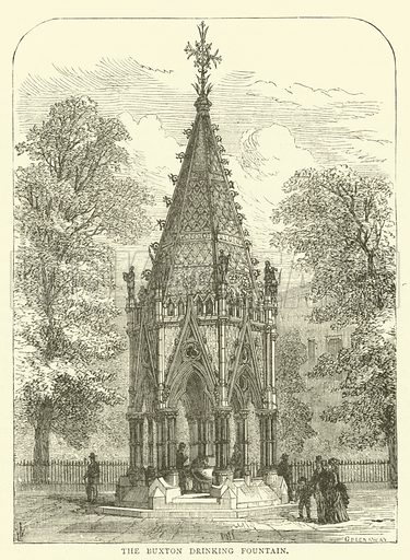 The Buxton Drinking Fountain. Illustration for Old and New London with numerous engravings from the most authentic sources by Walter Thornbury (Cassell, c 1890).
