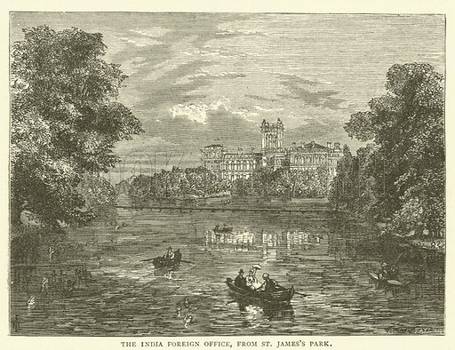 The India Foreign Office, from St James's Park. Illustration for Old and New London with numerous engravings from the most authentic sources by Walter Thornbury (Cassell, c 1890).