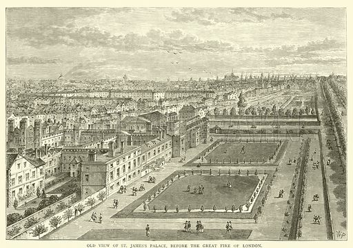 Old view of St James's Palace, before the great fire of London. Illustration for Old and New London with numerous engravings from the most authentic sources by Walter Thornbury (Cassell, c 1890).