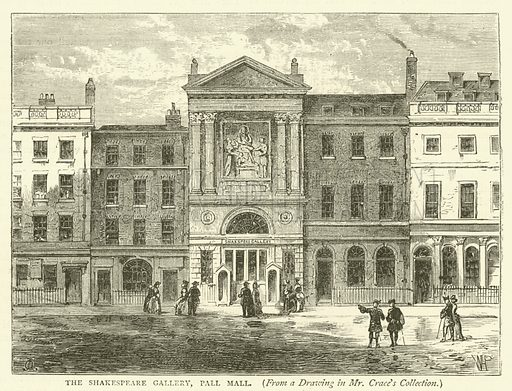 The Shakespeare Gallery, Pall Mall, from a drawing in Mr Crace's collection. Illustration for Old and New London with numerous engravings from the most authentic sources by Walter Thornbury (Cassell, c 1890).