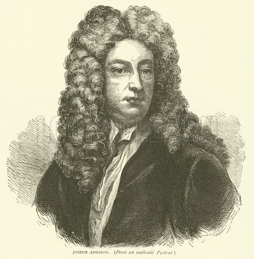 Joseph Addison, from an authentic portrait. Illustration for Old and New London with numerous engravings from the most authentic sources by Walter Thornbury (Cassell, c 1890).