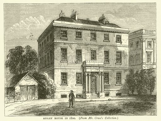 Apsley House in 1800, from Mr Crace's collection. Illustration for Old and New London with numerous engravings from the most authentic sources by Walter Thornbury (Cassell, c 1890).