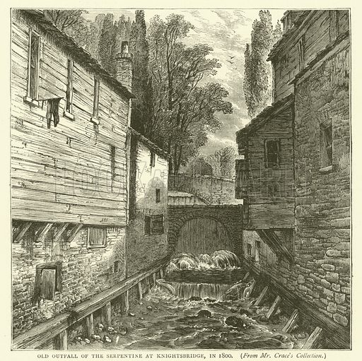Old outfall of the Serpentine at Knightsbridge, in 1800, from Mr Crace's collection. Illustration for Old and New London with numerous engravings from the most authentic sources by Walter Thornbury (Cassell, c 1890).