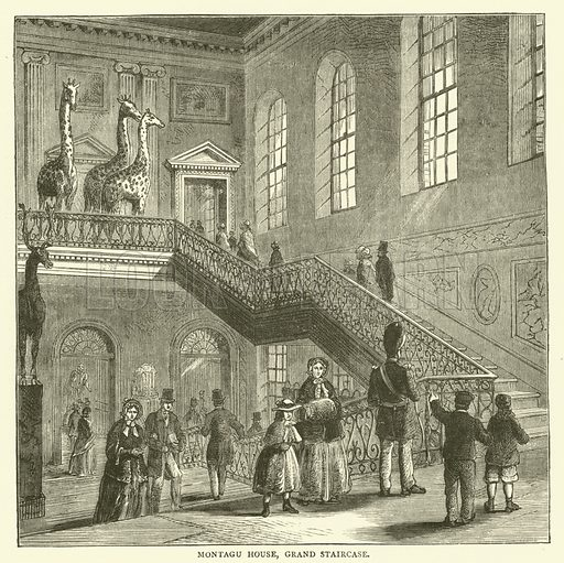 Montagu House, grand staircase. Illustration for Old and New London with numerous engravings from the most authentic sources by Walter Thornbury (Cassell, c 1890).