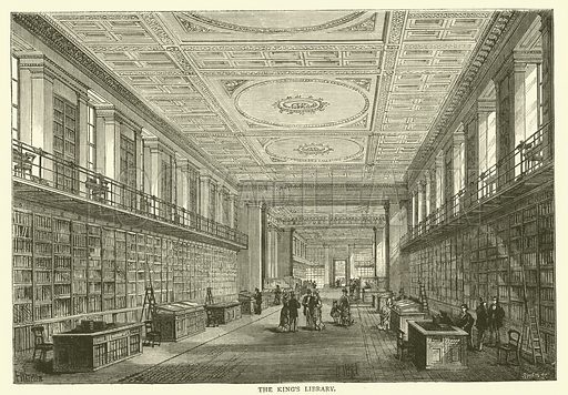 The King's Library. Illustration for Old and New London with numerous engravings from the most authentic sources by Walter Thornbury (Cassell, c 1890).