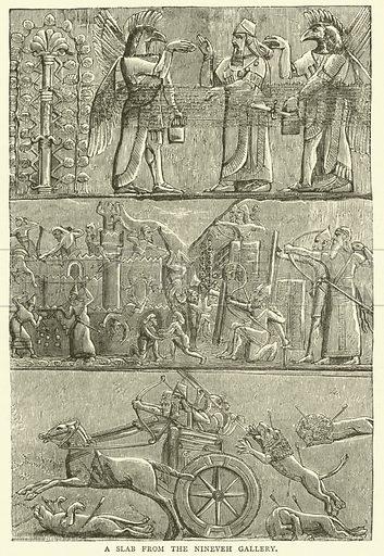 A slab from the Nineveh Gallery. Illustration for Old and New London with numerous engravings from the most authentic sources by Walter Thornbury (Cassell, c 1890).