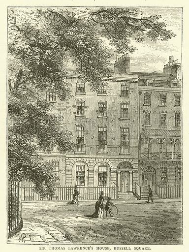 Sir Thomas Lawrence's House, Russell Square. Illustration for Old and New London with numerous engravings from the most authentic sources by Walter Thornbury (Cassell, c 1890).