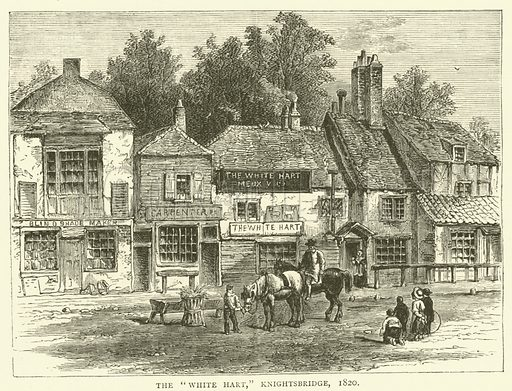 """The """"White Hart,"""" Knightsbridge, 1820. Illustration for Old and New London with numerous engravings from the most authentic sources by Walter Thornbury (Cassell, c 1890)."""