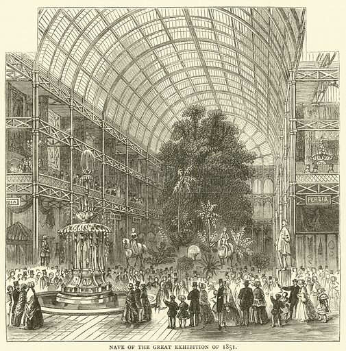 Nave of the Great Exhibition of 1851. Illustration for Old and New London with numerous engravings from the most authentic sources by Walter Thornbury (Cassell, c 1890).