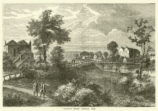 """""""Jenny's Whim"""" Bridge, 1750. Illustration for Old and New London with numerous engravings from the most authentic sources by Walter Thornbury (Cassell, c 1890)."""