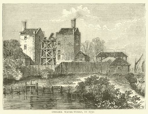 Chelsea Water-Works, in 1750. Illustration for Old and New London with numerous engravings from the most authentic sources by Walter Thornbury (Cassell, c 1890).