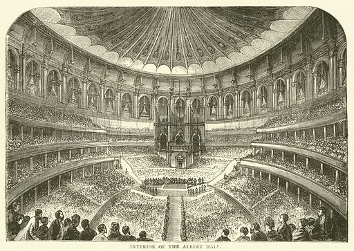 Interior of the Albert Hall. Illustration for Old and New London with numerous engravings from the most authentic sources by Walter Thornbury (Cassell, c 1890).