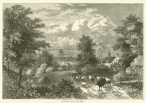 Notting Hill in 1750. Illustration for Old and New London with numerous engravings from the most authentic sources by Walter Thornbury (Cassell, c 1890).