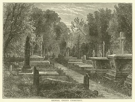 Kensal Green Cemetery. Illustration for Old and New London with numerous engravings from the most authentic sources by Walter Thornbury (Cassell, c 1890).