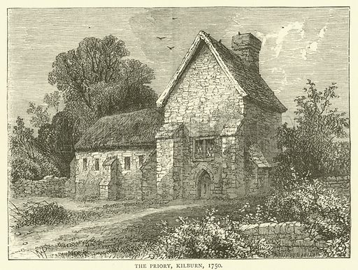 The Priory, Kilburn, 1750. Illustration for Old and New London with numerous engravings from the most authentic sources by Walter Thornbury (Cassell, c 1890).
