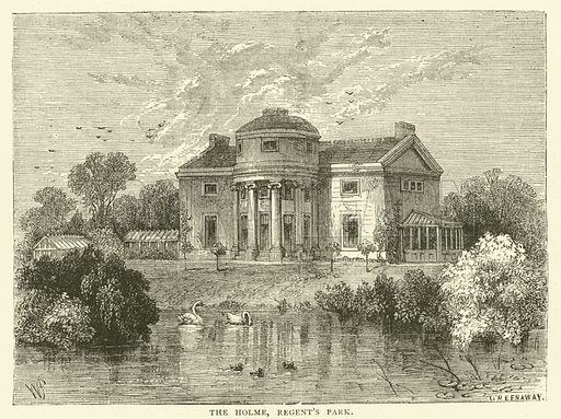 The Holme, Regent's Park. Illustration for Old and New London with numerous engravings from the most authentic sources by Walter Thornbury (Cassell, c 1890).