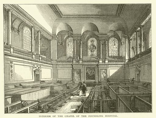 Interior of the Chapel of the Foundling Hospital. Illustration for Old and New London with numerous engravings from the most authentic sources by Walter Thornbury (Cassell, c 1890).