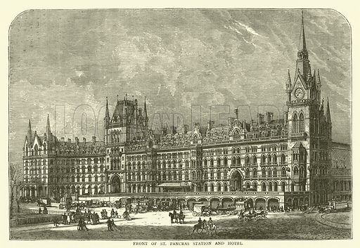 Front of St Pancras Station and Hotel. Illustration for Old and New London with numerous engravings from the most authentic sources by Walter Thornbury (Cassell, c 1890).