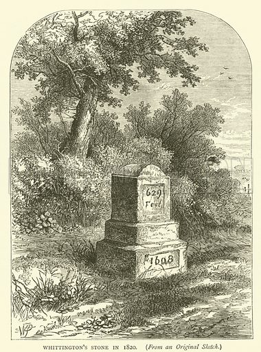 Whittington's Stone in 1820, from an original sketch. Illustration for Old and New London with numerous engravings from the most authentic sources by Walter Thornbury (Cassell, c 1890).