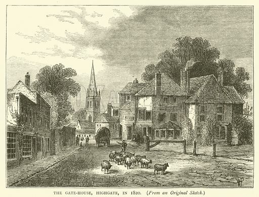 The Gate-House, Highgate, in 1820, from an original sketch. Illustration for Old and New London with numerous engravings from the most authentic sources by Walter Thornbury (Cassell, c 1890).