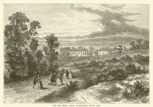 The Old Well Walk, Hampstead, about 1750. Illustration for Old and New London with numerous engravings from the most authentic sources by Walter Thornbury (Cassell, c 1890).