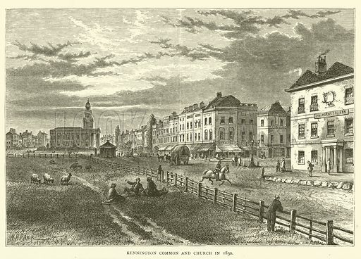 Kennington Common and Church in 1830. Illustration for Old and New London with numerous engravings from the most authentic sources by Walter Thornbury (Cassell, c 1890).