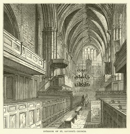 Interior of St Saviour's Church. Illustration for Old and New London with numerous engravings from the most authentic sources by Walter Thornbury (Cassell, c 1890).