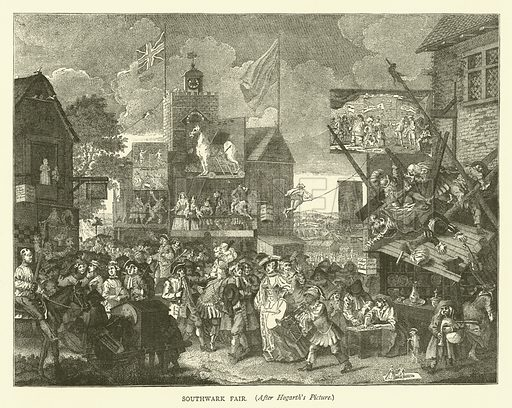 Southwark Fair, after Hogarth's picture. Illustration for Old and New London with numerous engravings from the most authentic sources by Walter Thornbury (Cassell, c 1890).
