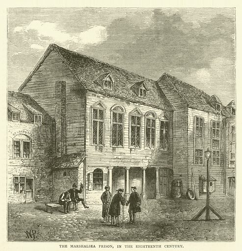 The Marshalsea Prison, in the eighteenth century. Illustration for Old and New London with numerous engravings from the most authentic sources by Walter Thornbury (Cassell, c 1890).