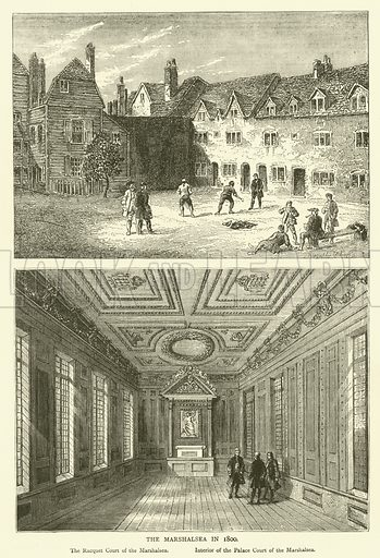 The Marshalsea in 1800. Illustration for Old and New London with numerous engravings from the most authentic sources by Walter Thornbury (Cassell, c 1890).