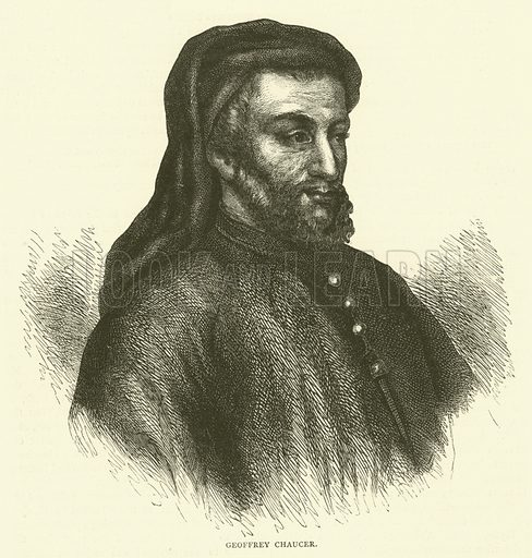 Geoffrey Chaucer. Illustration for Old and New London with numerous engravings from the most authentic sources by Walter Thornbury (Cassell, c 1890).