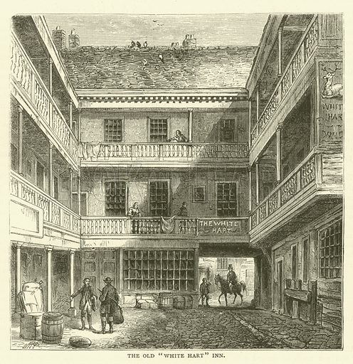"""The Old """"White Hart"""" Inn. Illustration for Old and New London with numerous engravings from the most authentic sources by Walter Thornbury (Cassell, c 1890)."""