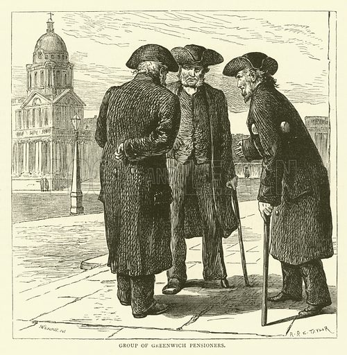 Group of Greenwich Pensioners. Illustration for Old and New London with numerous engravings from the most authentic sources by Walter Thornbury (Cassell, c 1890).