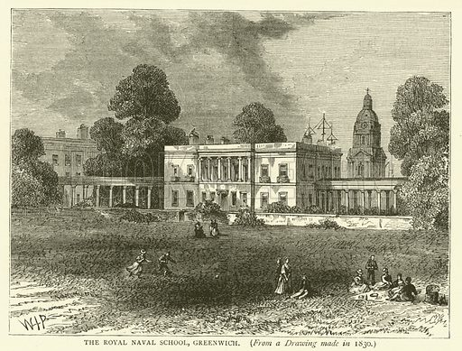 The Royal Naval School, Greenwich, from a drawing mad in 1830. Illustration for Old and New London with numerous engravings from the most authentic sources by Walter Thornbury (Cassell, c 1890).