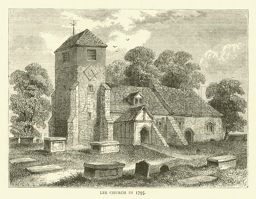Lee Church in 1795. Illustration for Old and New London with numerous engravings from the most authentic sources by Walter Thornbury (Cassell, c 1890).