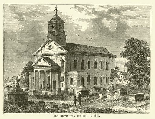 Old Newington Church in 1866. Illustration for Old and New London with numerous engravings from the most authentic sources by Walter Thornbury (Cassell, c 1890).
