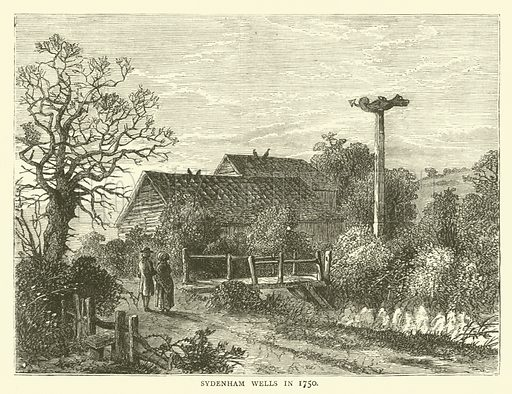 Sydenham Wells in 1750. Illustration for Old and New London with numerous engravings from the most authentic sources by Walter Thornbury (Cassell, c 1890).