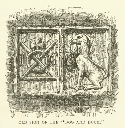 """Old sign of the """"Dog and Duck"""". Illustration for Old and New London with numerous engravings from the most authentic sources by Walter Thornbury (Cassell, c 1890)."""