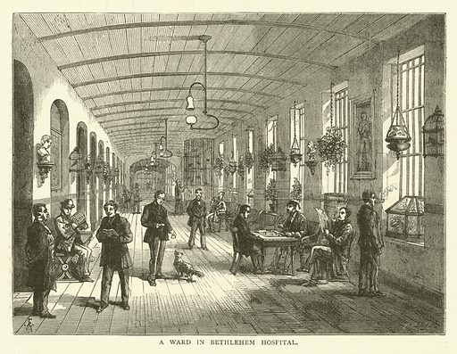 A ward in Bethlehem Hospital. Illustration for Old and New London with numerous engravings from the most authentic sources by Walter Thornbury (Cassell, c 1890).