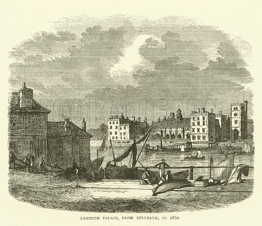 Lambeth Palace, from Millbank, in 1860. Illustration for Old and New London with numerous engravings from the most authentic sources by Walter Thornbury (Cassell, c 1890).