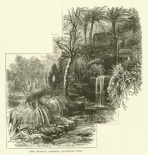The Tropical Gardens, Battersea Park. Illustration for Old and New London with numerous engravings from the most authentic sources by Walter Thornbury (Cassell, c 1890).