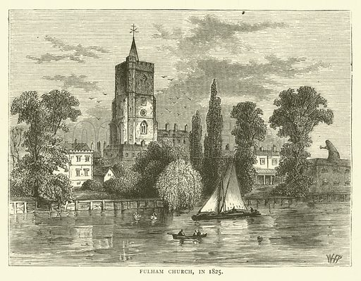 Fulham Church, in 1825. Illustration for Old and New London with numerous engravings from the most authentic sources by Walter Thornbury (Cassell, c 1890).