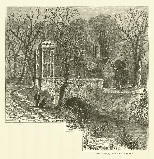 The Moat, Fulham Palace. Illustration for Old and New London with numerous engravings from the most authentic sources by Walter Thornbury (Cassell, c 1890).