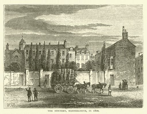 The Nunnery, Hammersmith, in 1800. Illustration for Old and New London with numerous engravings from the most authentic sources by Walter Thornbury (Cassell, c 1890).