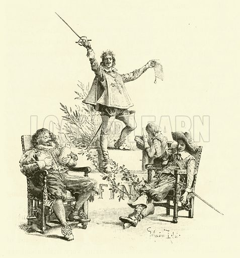 Illustration for The Three Musketeers by Alexandre Dumas with illustrations by Maurice Leloir engraved on wood by J Huyot (George Routledge, 1894).
