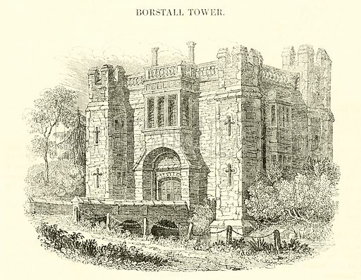 Borstall Tower. Illustration for The Graphic and Historical Illustrator edited by EW Brayley (J Gilbert, 1832).