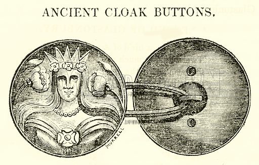 Ancient Cloak Buttons. Illustration for The Graphic and Historical Illustrator edited by EW Brayley (J Gilbert, 1832).