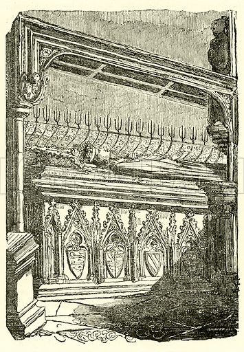 Tomb of Queen Eleanor, Westminster Abbey. Illustration for The Graphic and Historical Illustrator edited by EW Brayley (J Gilbert, 1832).