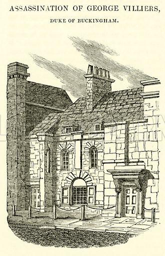 Assassination of George Villiers, Duke of Buckingham. Illustration for The Graphic and Historical Illustrator edited by EW Brayley (J Gilbert, 1832).